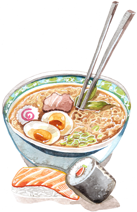 Ramen & Sushi illustration - Cocoskies | Illustration, design & travel blog